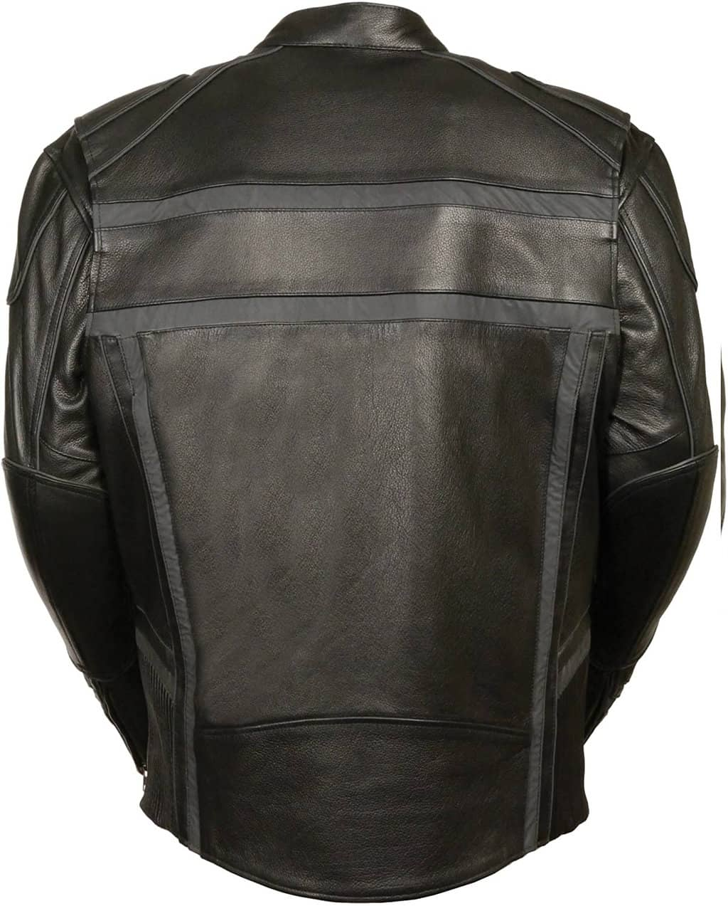 Milwaukee-ML2083-LG-BLACK-Men-Reflective-Band-and-Piping-Scooter-Leather-Jacket