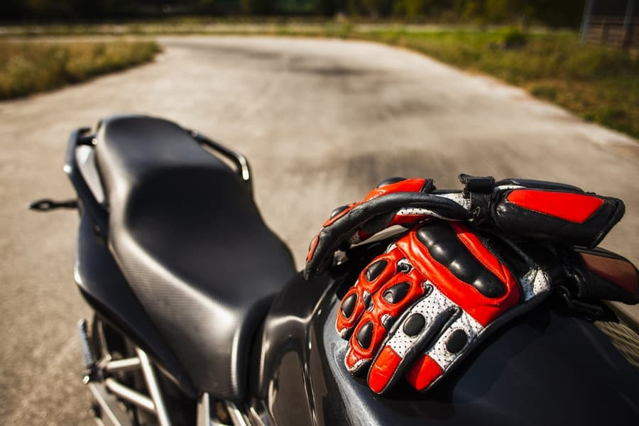 Motorcycle and gloves