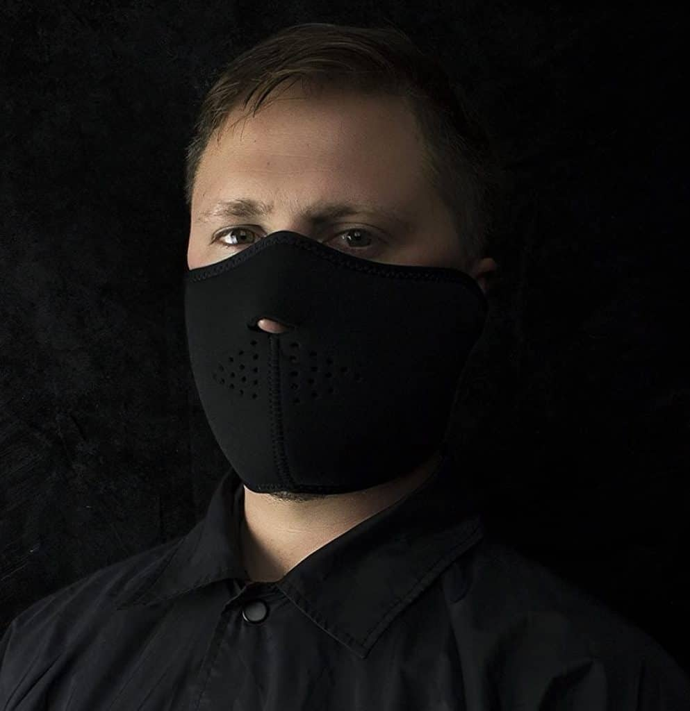 Man with ZANheadgear Neoprene Half Face Mask
