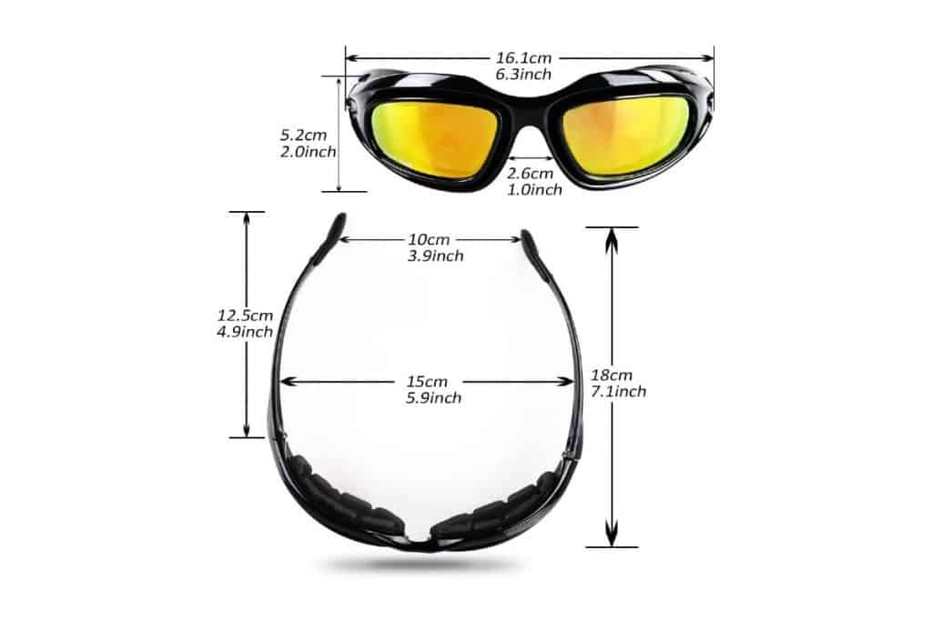 dimensions of AULLY PARK Polarized Motorcycle Riding Glasses