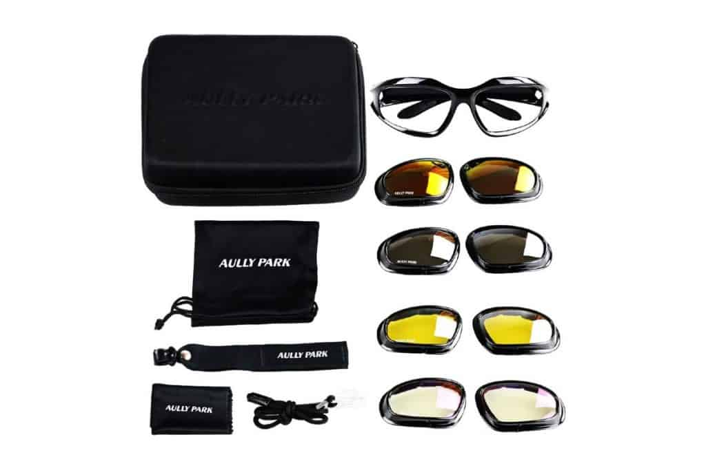 what comes with AULLY PARK Polarized Motorcycle Riding Glasses