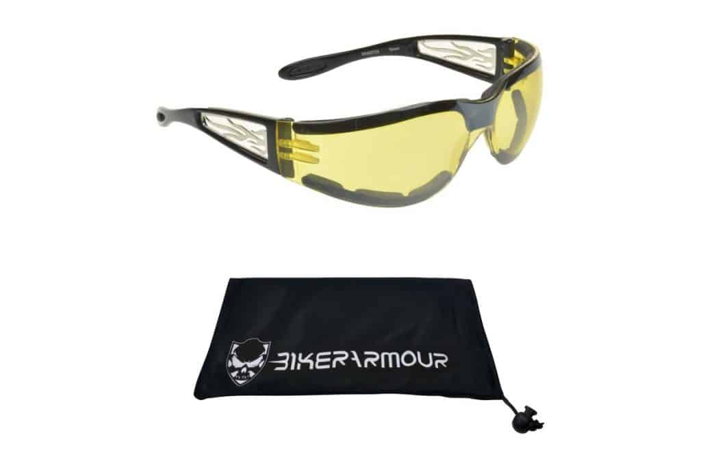 Foam Padded Motorcycle Night Glasses and its bag