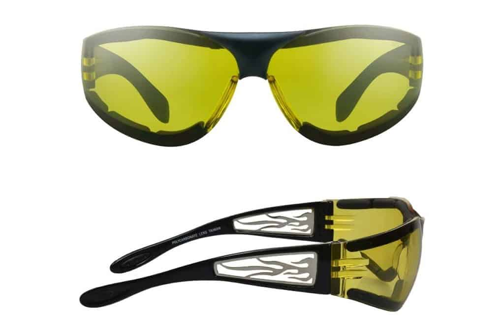 Foam Padded Motorcycle Night Glasses front and side views