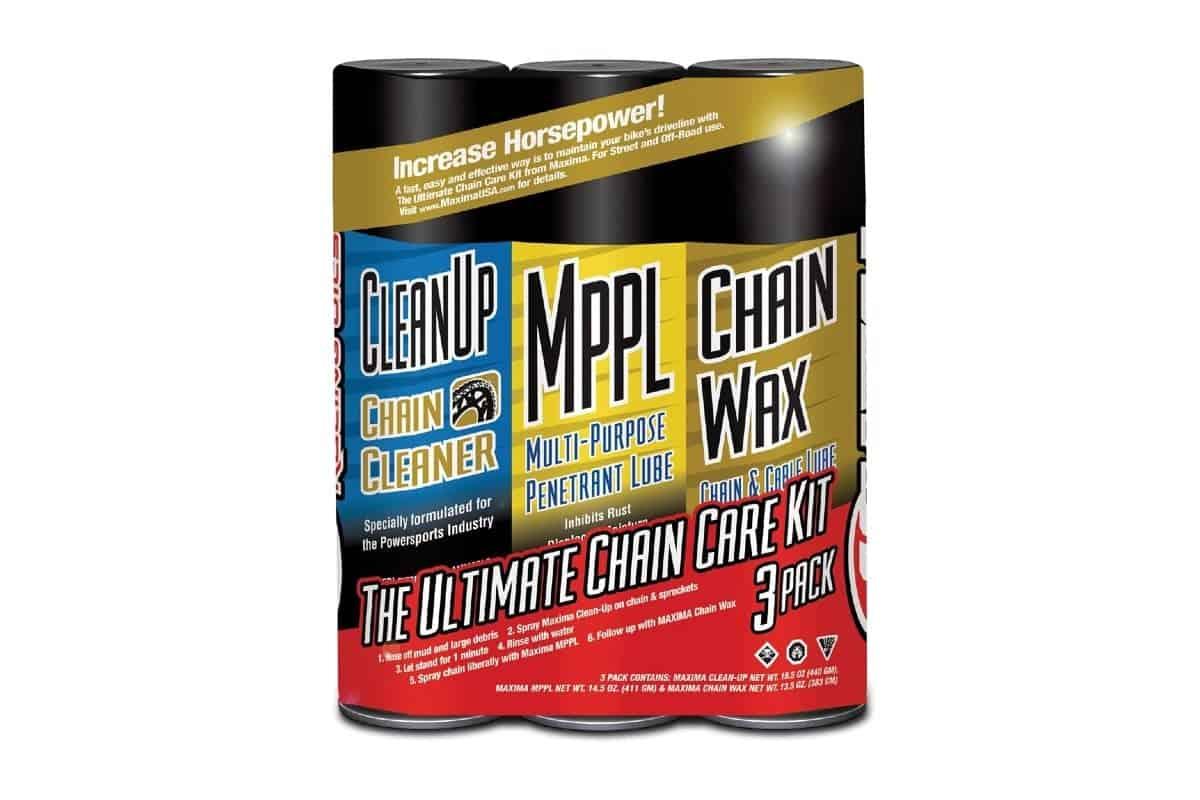 Maxima 70-749203-3PK Chain Wax Ultimate Chain Care Aerosol Combo Kit white background