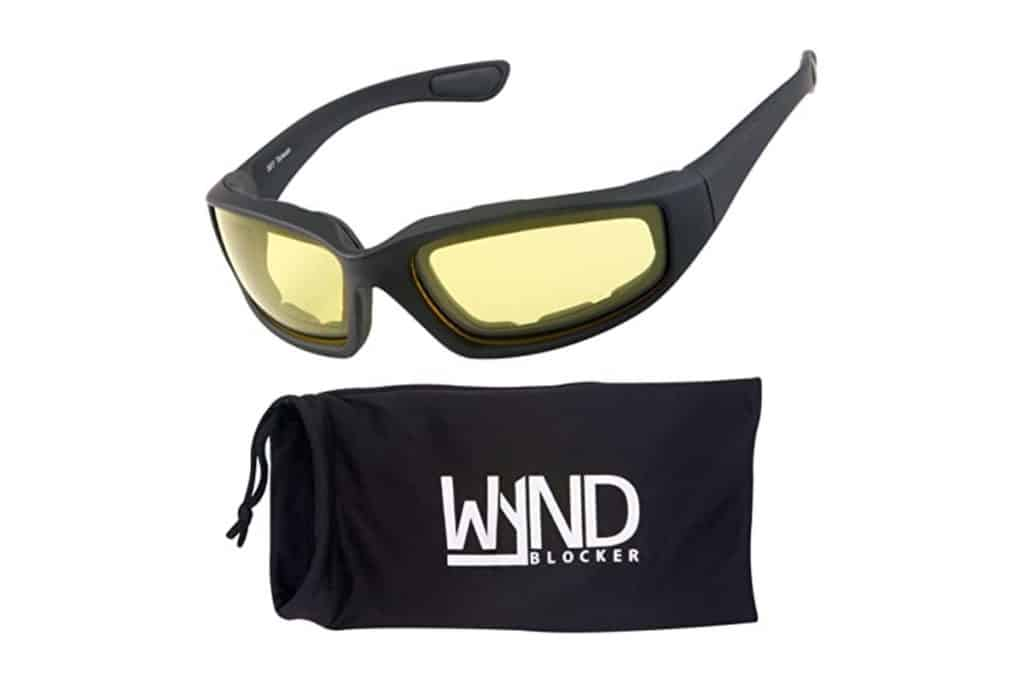 WYND Blocker Motorcycle & Biking Wind Resistant Sports Wrap Sunglasses with bag